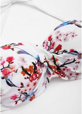 Color Block Backless Push Up Padded Underwire Bandage Sexy Bikini Set_6