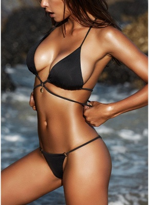 Women Wraparound Halter Thong Bikini Set Leopard Snakeskin Pattern Swimwear Push Up Swimsuit_6
