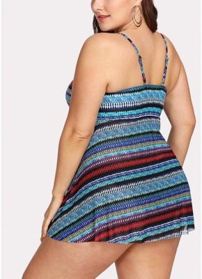 Women Large Size Two Piece Swimwear Backless Padding Wireless Swimsuit_3
