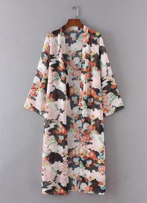 Bikini Cardigan en mousseline de soie d'été couvrez-vous imprimé Kimono Boho Long femmes_3