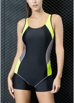Women One Piece Swimwear Color Splice Cut Out Padding Bathing Suit Swimsuits_1