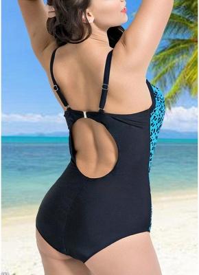 Women Large Size One Piece Swimwear Push Up Padding Wireless Swimsuit_5