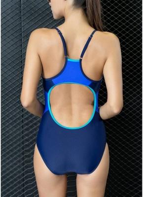 Women One Piece Swimwear Color Splice Strappy Sleeveless Padding Wireless Bathing Suit Swimsuits_6