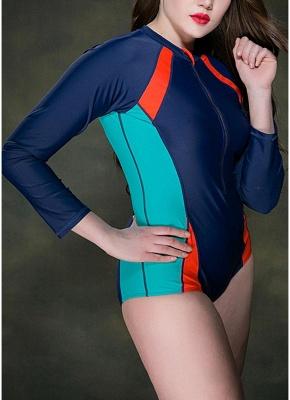 Women Plus Size Swimsuit Long Sleeves Swimwear One Piece Bathing Suit_4