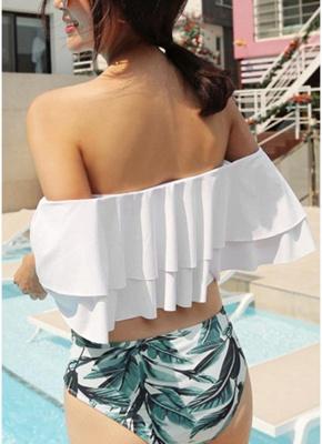 Women Sexy Bikini Set Off the Shoulder Slash Ruffles Cut Out Waist Leaves Print_3