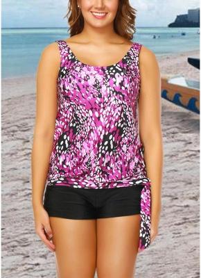 Women Plus Size Push Up Tankini Swimsuit Padded Swimwear Printed Bathing Suit_1