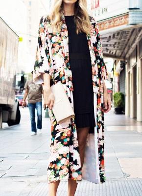 Bikini Cardigan en mousseline de soie d'été couvrez-vous imprimé Kimono Boho Long femmes_1