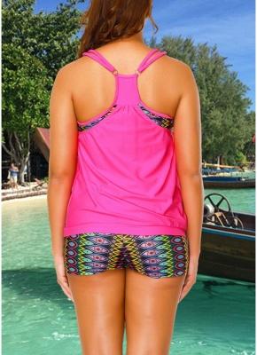 Geometric Print Sleeveless Backless Padded Wireless Swimsuit_5