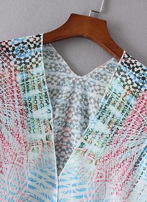 Women Chiffon Cardigan Gradient Print Kimono_6