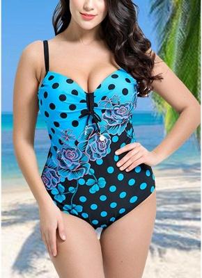Women Plus Size Floral Dot Swimsuit Cut Out Backless Plunge Strap Monokini_1