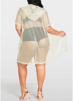 Women Sexy Bikini Cover Up Fishnet Hooded Cardigan Plus Size Outerwear Beachwear_3