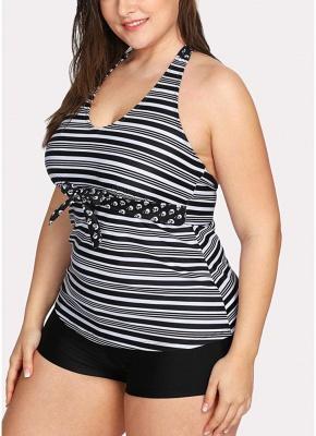 Women Plus Size Swimsuit Halter Striped Print Backless Two Piece Sexy Bikini Swimwear_5