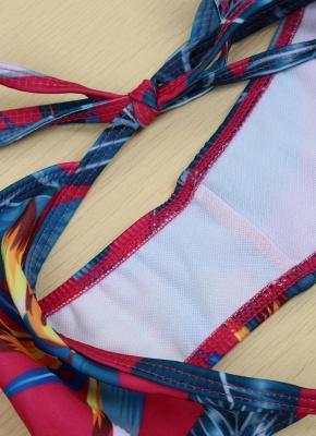 Floral Print Halter Wireless Padded Two Piece Sexy Bikini Set Swimwear_8