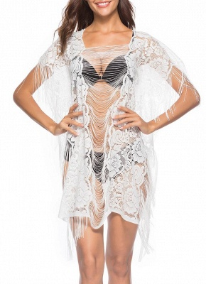 Sheer See Through Floral Lace Tassel Fringe Mini Loose Solid Beach Cover Up_1