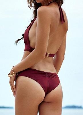Halter Neck Lace Front avant taille basse Bikini_3