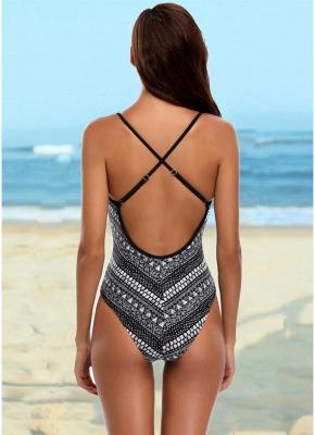 Geometric Print Bandage Cross Over Open Back One Piece Swimsuit_5