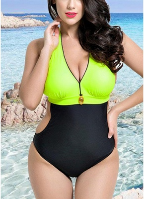 Backless Contrast Color Swimwear Bandage Bathing Suit_2