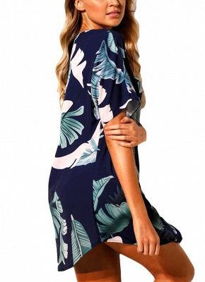 Women Beach Dresses Cover Ups Plants Print Tie Knot Mini Bikini Beachwear_8