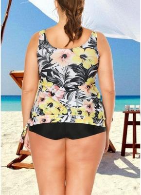 Plus Size Floral Print Tankini Sleeveless Two Piece Swimwear_4