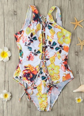 Lace Up Hollow Out Backless Printed Women's Monokini_5