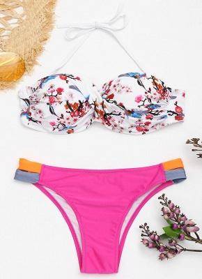 Color Block Backless Push Up Padded Underwire Bandage Sexy Bikini Set_4