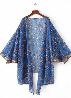 Vintage Chiffon Floral Leaf Print Women's Loose Kimono_2