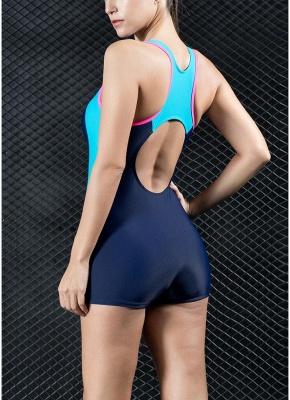 Women Sports One Piece Swimsuit Swimwear Shorts Backless Bathing Suit Swimming Suit_6