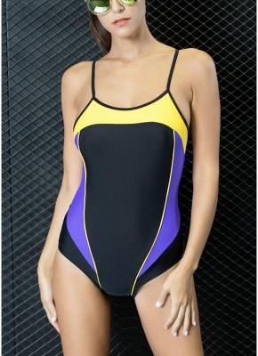 Women One Piece Swimwear Color Splice Strappy Sleeveless Padding Wireless Bathing Suit Swimsuits_1