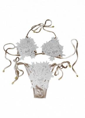 Women Velvet Swimsuit Halter Crochet Lace Tie Wireless Swimwear Bikini Beach Wear_6