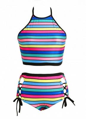 Stripe Halter Plus Size Swimsuit_1