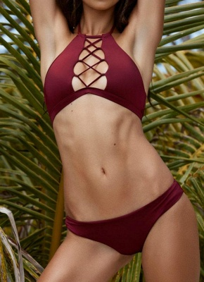 Halter Neck Lace Front avant taille basse Bikini_2