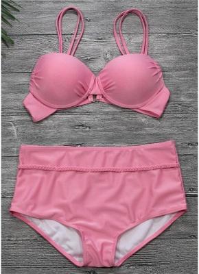 High Waist Backless Push Up Padded Underwire Solid Bandage Bikini Set_1