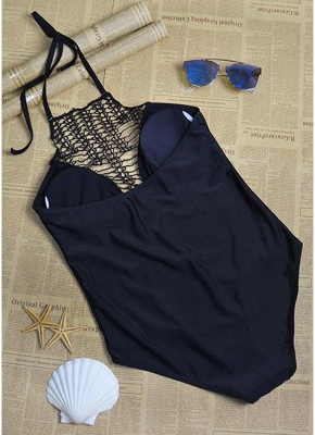 Women One-Piece Swimwear Halter Hollow Out Backless Sleeveless Padded Bathing Suit Swimsuits_5