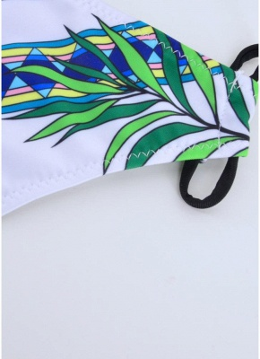 Letters Print Halter Tie Backless Padded Two Pieces Swimsuit_5