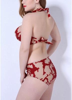 Print Sexy Bikini Set Push Up Halter Back Tie Backless Mid Waist_5