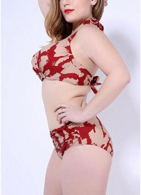 Print Sexy Bikini Set Push Up Halter Back Tie Backless Mid Waist_6