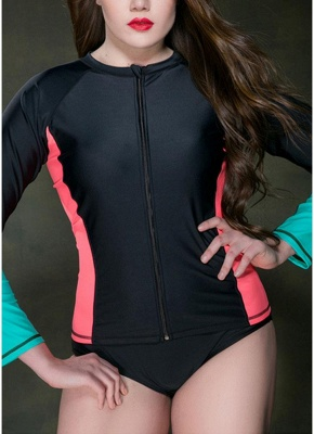 Large Size Wetsuit Contrast Color Zip Long Sleeve Swimsuit_3
