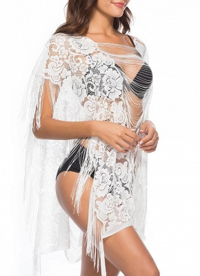 Sheer See Through Floral Lace Tassel Fringe Mini Loose Solid Beach Cover Up_4