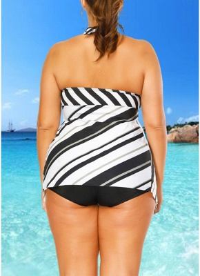 Plus Size Striped Print Asymmetrical Hem Sexy Bikini Set_5