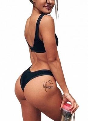 Women One Piece Swimsuit Swimwear Plunge Neck Cut Out Backless Bathing Suit Beachwear_4