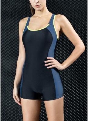 Women Sports One Piece Swimsuit Swimwear Shorts Backless Bathing Suit Swimming Suit_3