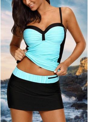 Women Bikini Set Swimsuit Push Up Swimwear Contrast Beach Wear Bathing Suit Plus Size Tankini Skirt Set_4