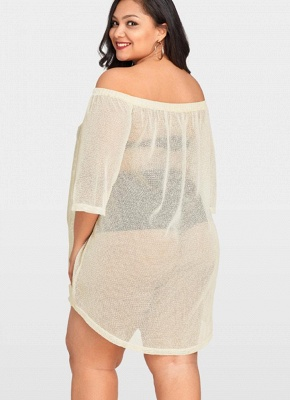Women Sheer Cover Up Dress 3/4 Sleeve Sexy Bikini Cover-up Overall_4