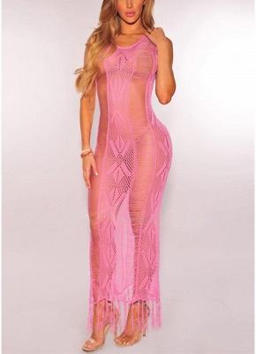 Women Knitted Bikini Cover Up Tassel Fringe Hollow Out Swimwear Swimsuit Beachwear_2