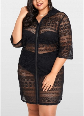 Women Plus Size See-through Cover Ups Floral Lace Hooded Half Sleeves Long Casual Tops Beachwear_1