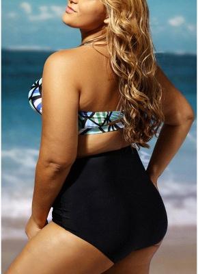 Ensemble de bikini rembourré sans bretelles taille haute sans manches à imprimé géométrique_6