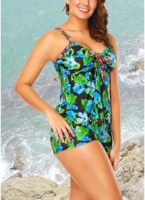 Floral Strap Tankini Top Shorts Set Bathing_3