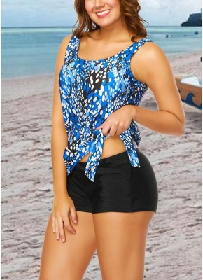Women Plus Size Push Up Tankini Swimsuit Padded Swimwear Printed Bathing Suit_8