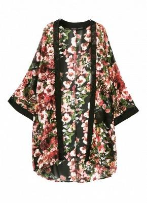 Vintage Floral Print Long Bat Sleeves Chiffon Kimono Blouse_1