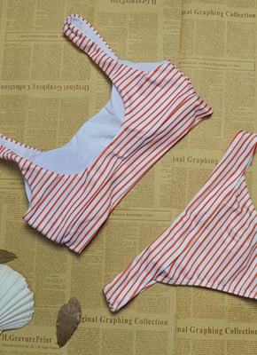 Women Brazilian Sexy Bikini Set Swimsuit Striped Print Swimwear Padded Beach Wear Two Piece Bathing Suit Red_4